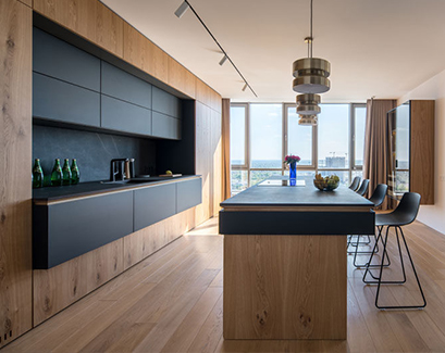 modern wood and black kitchen