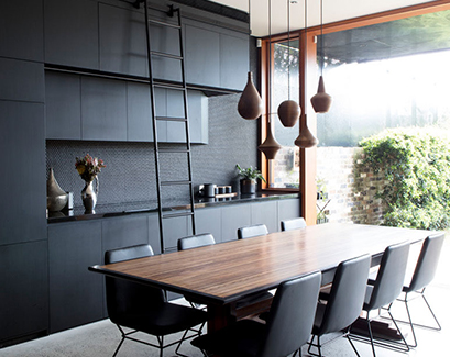 modern balck and wood