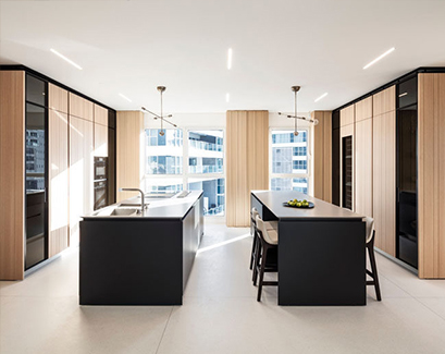 modern balck and wood kitchen